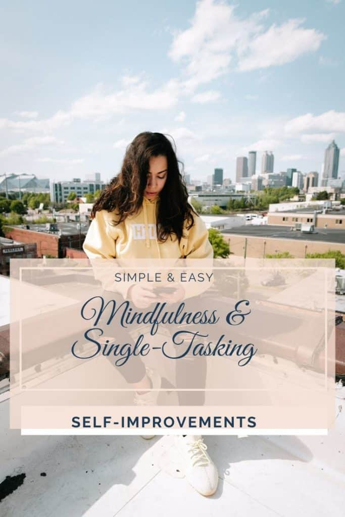 Woman practising mindfulness & single tasking on phone