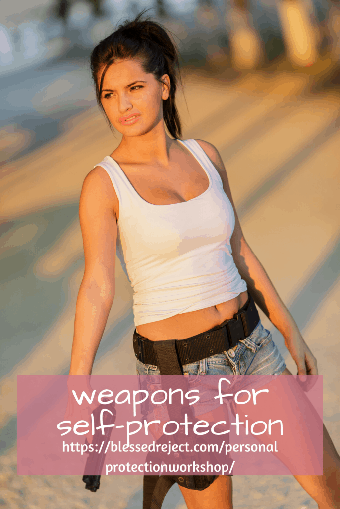 woman with holster for  gun self-protection