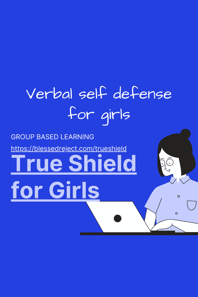 girl on laptop learning verbal self-defense